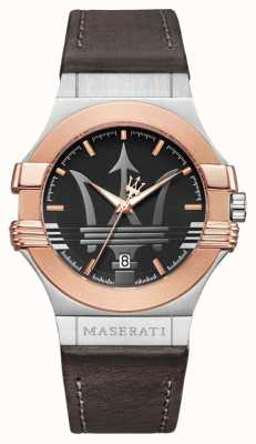 Maserati Potenza Homme 42mm | acier inoxydable plaqué or | stra brun R8851108014