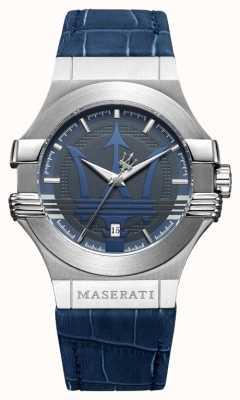 Maserati Potenza Homme 42mm | acier inoxydable | cadran bleu | bracelet bleu R8851108015