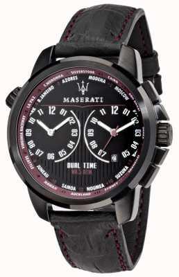 Maserati Succès homme 44mm | cadran noir | bracelet en cuir noir R8851121002