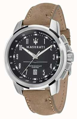 Maserati Succès homme 44mm | cadran noir | bracelet en cuir beige R8851121004