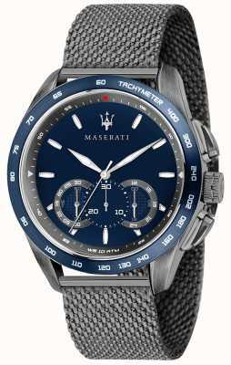 Maserati Traguardo Homme 45mm | cadran bleu | bracelet maille gris R8873612009