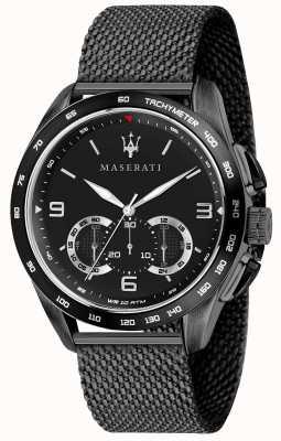 Maserati Traguardo Homme 45mm | cadran noir | bracelet en maille noire R8873612031