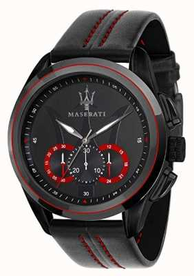 Maserati Chronographe homme traguardo | cadran noir | Cuir noir R8871612023