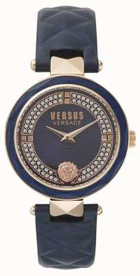 Versus Versace Jardin des femmes | cadran bleu swarovski | cuir bleu VSPCD2817