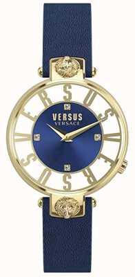 Versus Versace Kirstenhof Femmes | cadran bleu / blanc | bracelet en cuir bleu VSP490218