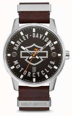 Harley Davidson Bracelet pour homme en cuir marron avec cadran marqué hd 76B178
