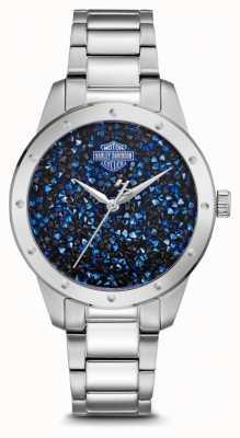 Harley Davidson Set de cristal pour femme avec cadran bleu bracelet en acier inoxydable 76L188
