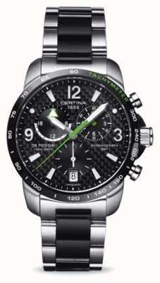 Certina Ds podium gmt chronographe cadran noir en acier inoxydable C0016392220702