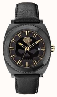 Harley Davidson Crâne pour homme cadran noir | bracelet en cuir noir 78B129