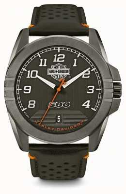 Harley Davidson Hommes de la rue | cadran noir | bracelet en cuir noir 78B143