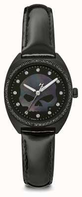 Harley Davidson Crâne de willie g de cristal des femmes | cadran noir | Cuir noir 78L125