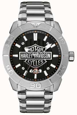 Harley Davidson Bracelet homme en acier inoxydable | cadran noir 76B169
