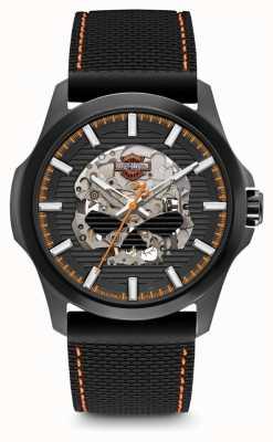 Harley Davidson Crâne homme willie g | cadran noir | bracelet en silicone noir 78A118