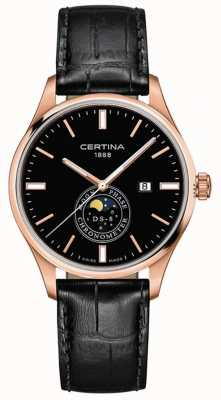 Certina Hommes ds-8 | noir | or rose | montre de phase de lune C0334573605100