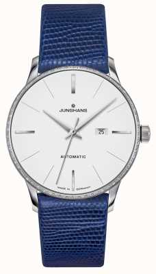 Junghans Meister damen automatique | ensemble de diamant | sangle de lézard bleu 027/4846.00