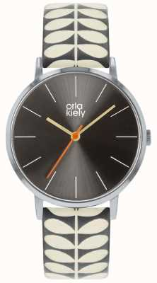 Orla Kiely Montre patricia dames | bracelet gris et crème OK2247