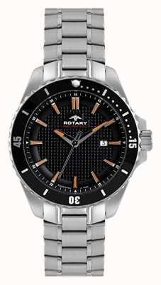 Rotary Analogique homme | bracelet en acier inoxydable | cadran noir AGB00293/04