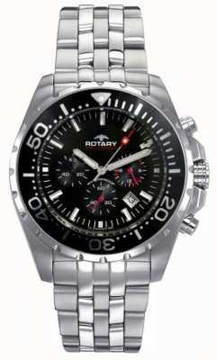 Rotary Hommes aquaspeed | bracelet en acier inoxydable | cadran noir AGB00013/C/04S