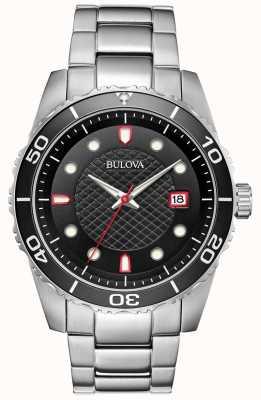 Bulova Bracelet en acier inoxydable pour homme avec cadran noir / rouge sport 98A195