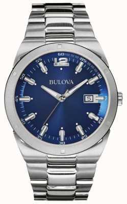 Bulova Bracelet homme classique en acier inoxydable avec cadran bleu 96B220