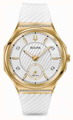 Bulova Bracelet pour femme serti de diamants curv et plaqué or blanc 98R237
