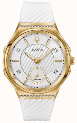 Bulova Bracelet serti de diamants Curv pour femme, plaqué or blanc 98R237