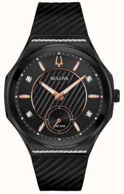 Bulova Bracelet en caoutchouc noir serti de diamants pour femmes 98R240