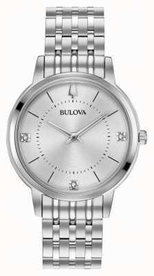 Bulova Bracelet en acier inoxydable avec cadran en diamant pour femme 96P183