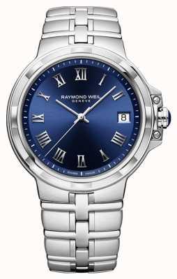 Raymond Weil Montre bracelet classique cadran bleu Parsifal 5580-ST-00508