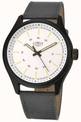 Limit | hommes | bracelet en cuir noir | cadran blanc | 5949.01