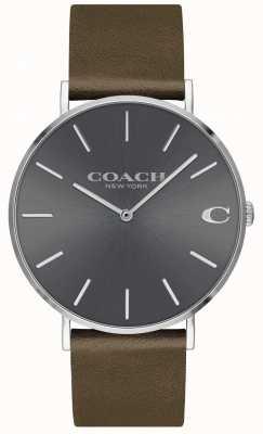 Coach Hommes charles | bracelet en cuir marron | cadran gris 14602153