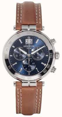 Michel Herbelin Bracelet en cuir marron newport pour homme avec cadran bleu 36654/AP15GO