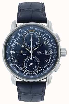 Zeppelin | série 100 ans | date du chronographe | cuir bleu | 8670-3