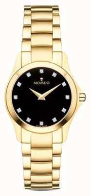 Movado | montre femme mensan | ton or | cadran noir | 0607028