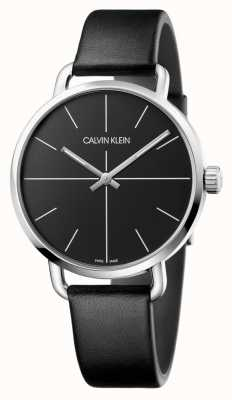 Calvin Klein | mens même regarder | bracelet en cuir noir | cadran noir | K7B211CZ