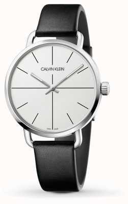 Calvin Klein | montre même extension | bracelet en cuir noir | cadran blanc | K7B211CY