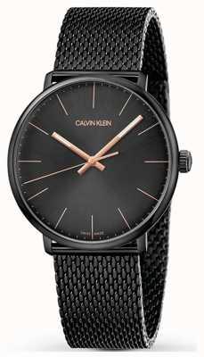 Calvin Klein | haute montre de midi | bracelet en acier inoxydable noir | cadran noir K8M21421