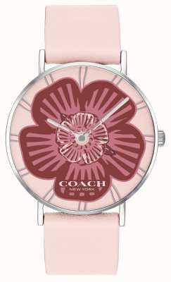 Coach | montre perry femme | bracelet en cuir rose | cadran floral | 14503231