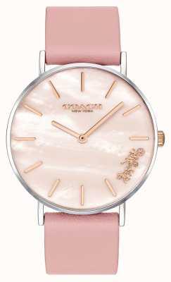 Coach | montre femme perry | bracelet en cuir rose | 14503244