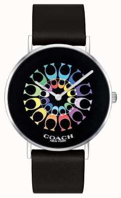 Coach | montre femme perry | bracelet en cuir noir cadran noir | 14503289