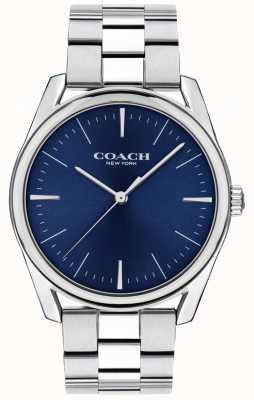 Coach | montre de luxe moderne pour hommes | cadran bleu en acier inoxydable | 14602401