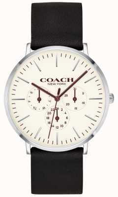Coach | montre homme varick | bracelet en cuir noir cadran blanc | 14602387