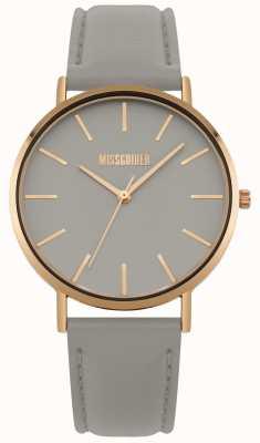 Missguided | montre femme | bracelet en cuir gris cadran gris | MG017ERG