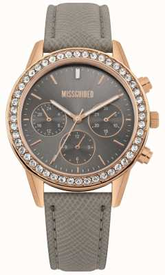 Missguided | montre femme | bracelet en cuir gris boîtier en or rose | MG002ERG