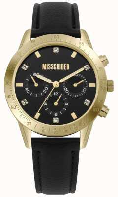 Missguided | montre femme | boîtier en cuir noir doré | MG004BG