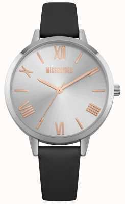 Missguided | montre femme | bracelet en cuir noir cadran argenté | MG001B