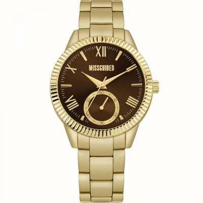 Missguided | bracelet en acier inoxydable doré pour femme | cadran marron | MG006GM
