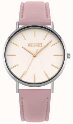 Missguided | montre femme | bracelet en cuir rose cadran blanc | MG017P