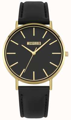 Missguided | montre femme | bracelet en cuir noir cadran noir | MG017BG