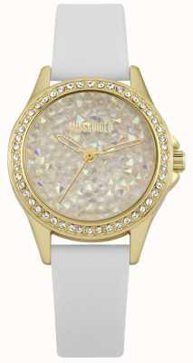 Missguided | montre femme | bracelet doré en cuir blanc | MG013WG